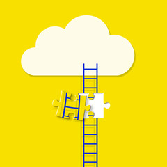 Stair ladders over clouds with jigsaw