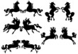 five horse silhouettes couples on white