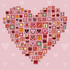 Heart made of love icons