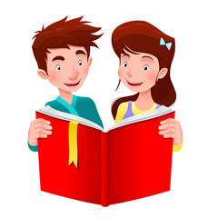 Boy and girl are reading a book.