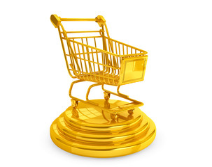 Best Sellers concept. Golden Shopping Cart
