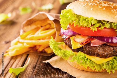 Fototapety, obrazy : Fresh hamburger