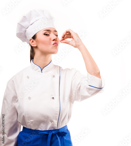 positive cook on white background