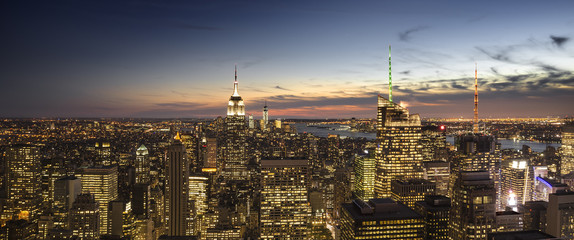 New York City skyline view at dusk