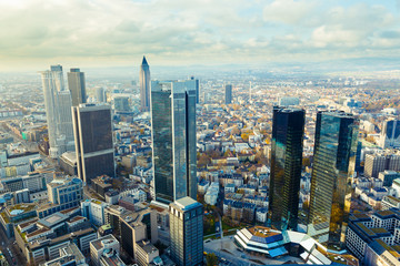 view of the Frankfurt skyscrapers