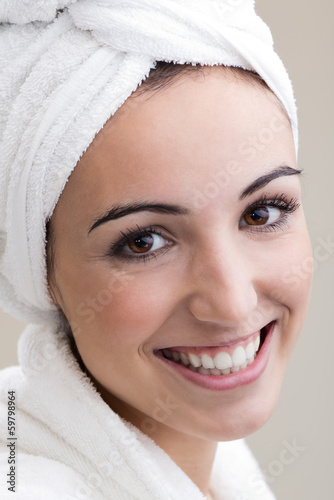Pretty young woman in modern spa
