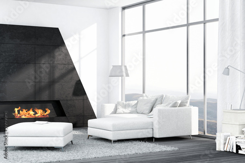 Contemporary white living room interior with fireplace