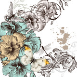 Grunge vector background with violent  flowers for design poster