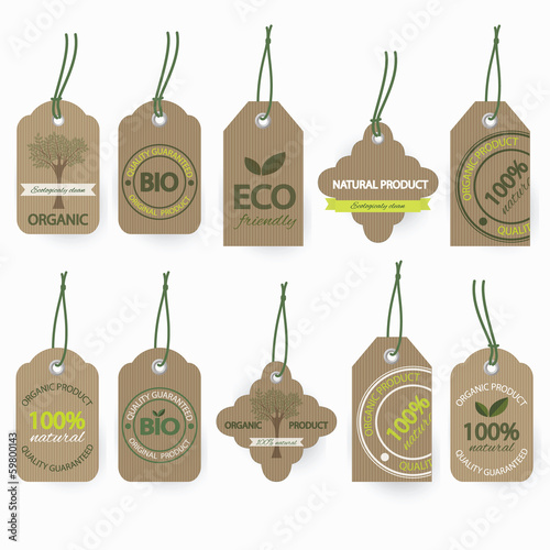 Vector set of natural organic cardboard labels.