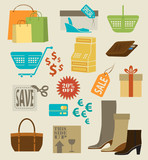 Colorful shopping icons, labels, tags and symbols