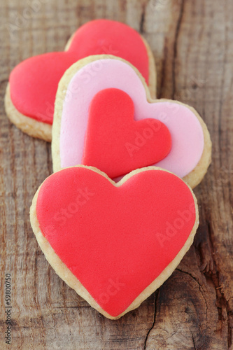 Heap of romantic heart shaped homemade Valentine cookies