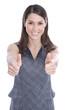 Daumen hoch - Frau lachend isoliert zeigt Mut und Stärke