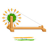 Tricolor Charkha (Spinning Wheel)