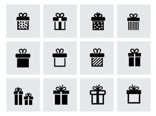vector black gift icon set on white