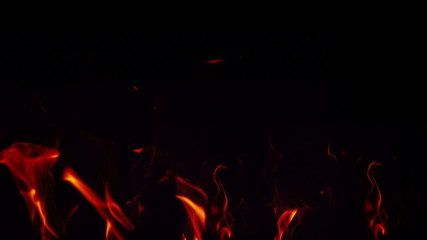 Flames on black background
