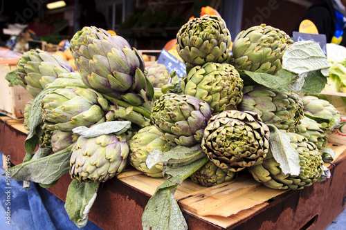 Artichokes at the market stall