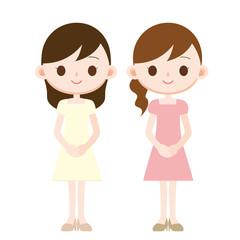ワンピースの女性 二人