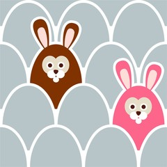 Seamless easter background pattern with eggs and hare