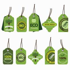 Vector set of natural organic labels.