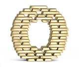 Letter O from gold bars