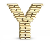 Letter Y from gold bars