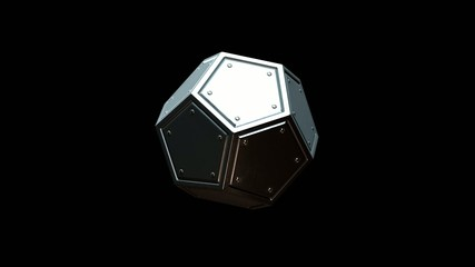 Rotating dodecahedron (looped, with alpha channel)