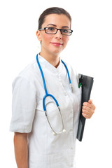 Portrait of smiling confident woman doctor with clipboard