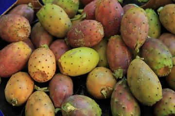 Cactus vigs at a market