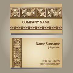 visiting card template in beige gold with ethnic greece borders.