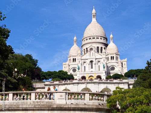 Paris, Sacre-Coeur wide shot with blue sky