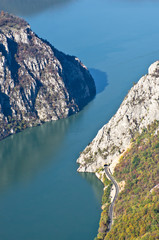 Cliffs over Danube river where Djerdap gorge is narrowest