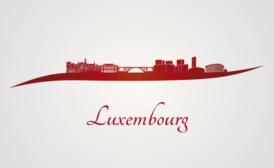 Luxembourg skyline in red
