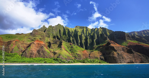 Jagged hills from catamaran at the dramatic Na Pali coast