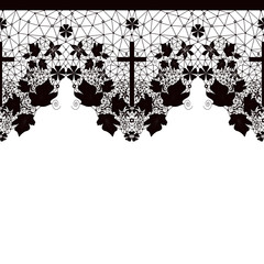Black seamless lace pattern on white