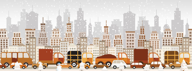 Traffic jam in the city (Winter)