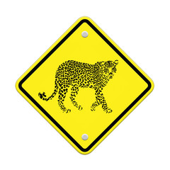 Jaguar tiger warning sign on the road