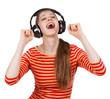 Happy girl having fun listening to music