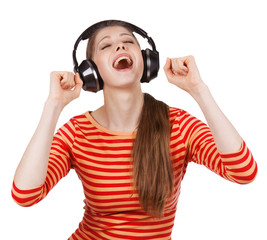 Happy girl having fun listening to music