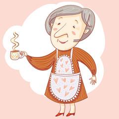 Grandma And Cup.