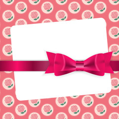 Valentine`s Day Card with Bow and Ribbon Vector Illustration