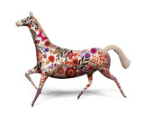toy horse with ornament isolated on white