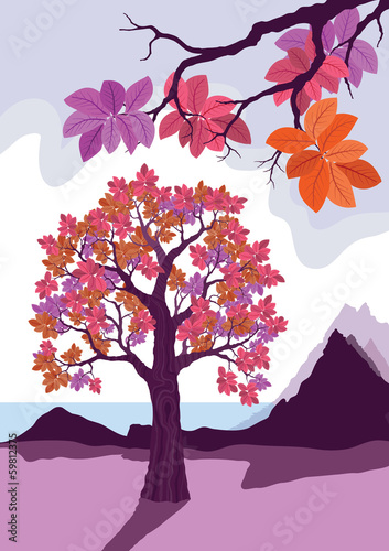 pink decorative tree vector illustration