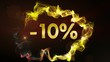 -10% Discount Concept, Gold Numbers in Particles