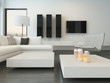 Luxury modern white living room interior