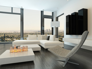 Luxury white living room interior with modern furniture