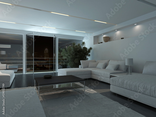 Modern living room interior at night