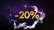 -20% Discount Concept, Gold Numbers in Particles