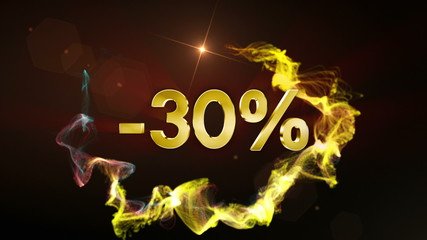 -30% Discount Concept, Gold Numbers in Particles