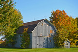 barn with autumn foliage