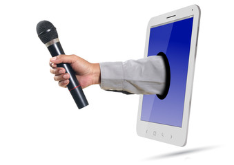 Hand Giving Microphone over Smartphone
